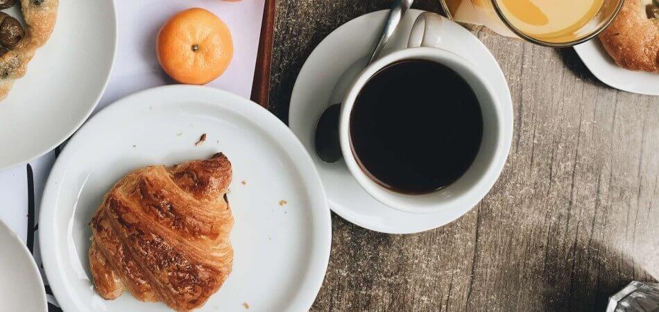 Lazzaris, Italian Breakfast, Coffee and croissant